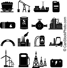 energía, conjunto, industria, potencia, iconos