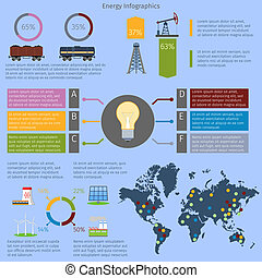energía, conjunto, infographics
