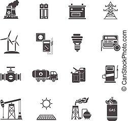 energía, conjunto, negro, potencia, iconos