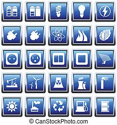 energía, conjunto, potencia, icono