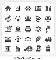 energía, conjunto, potencia, iconos