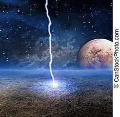 energía, descarga, en, extranjero, luna