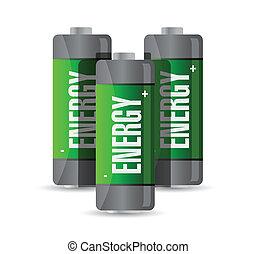 energía, diseño, batteries., ilustración