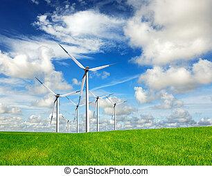 energía eólica, en, cielo azul