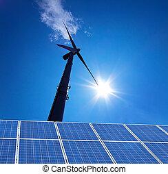 energía eólica, energía alternativa, flujo, por, turbina