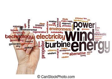 energía eólica, palabra, nube