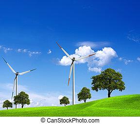 energía eólica, y, verde, naturaleza