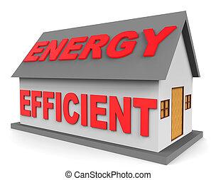 energía, eficiente, casa, representa, eficiente, hogar, 3d, interpretación