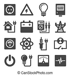 energía, electricidad, iconos, conjunto