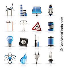 energía, electricidad, potencia, iconos