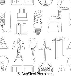 energía, electricidad, potencia, iconos, en, colores, patrón
