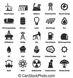energía, electricidad, potencia, iconos, señales, y, símbolos