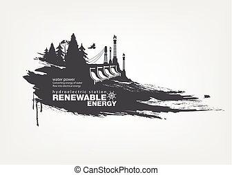 energía, estación, renovable, grunge, hidroeléctrico