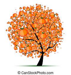 energía, fruta cítrica, árbol, para, su, diseño