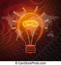 energía, fuentes, en, bombillas