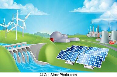 energía, generación, fuentes, potencia