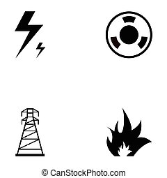 energía, icono, conjunto
