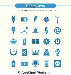 energía, icono, conjunto, vector