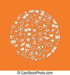 energía, iconos, en, círculo
