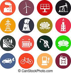 energía, iconos, en, color