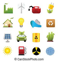 energía limpia, icono, conjunto