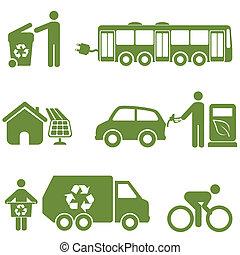 energía limpia, reciclaje, y, ambiente