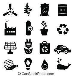 energía limpia, y, ambiente, iconos