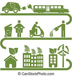 energía limpia, y, verde, ambiente