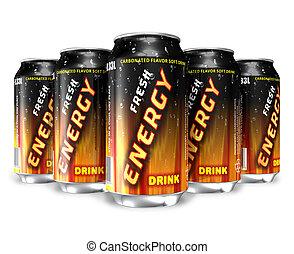 energía, metal, latas, bebidas