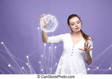 energía, mujer, mágico, ball., encendido