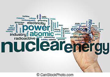 energía nuclear, palabra, nube