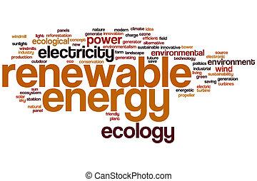 energía, palabra, renovable, nube