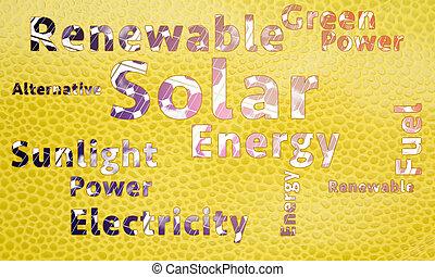 energía, palabra, solar, nube