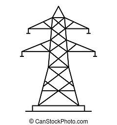 energía, poste, icono, contorno, estilo