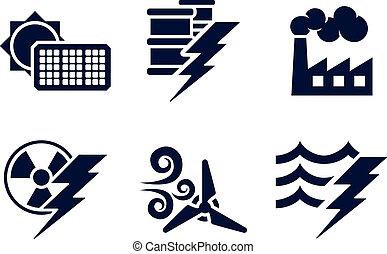 energía, potencia, iconos