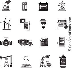 energía, potencia, negro, iconos, conjunto