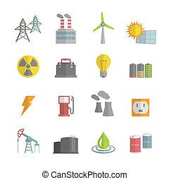 energía, potencia, plano, iconos, conjunto