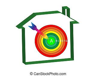 energía, ratings, casa, blanco
