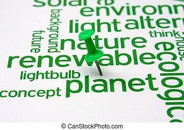 energía renovable, palabra, nube