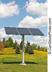 energía renovable, -, photovoltaic, panel solar, serie