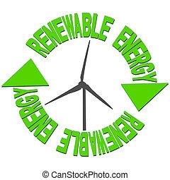 energía renovable, texto, y, turbina del viento