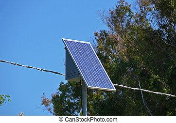 energía solar, en, el, panel