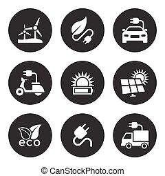 energía solar, iconos, conjunto