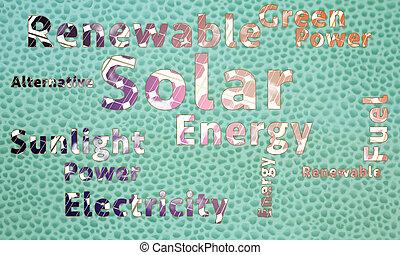 energía solar, palabra, nube