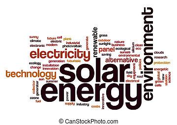 energía solar, palabra, nube, concepto