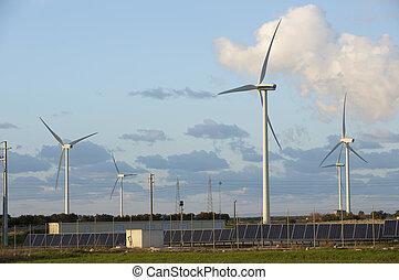 energía, solar, viento