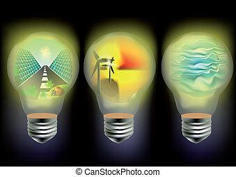 energía, solar, viento, onda