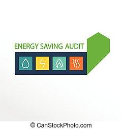 energía, vector, efficiency., logotipo