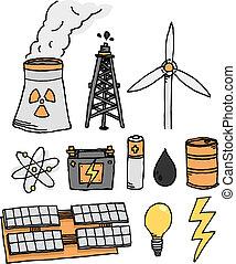 energía, vector, icono, conjunto, /, alternativa, generación de energía