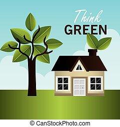 energía, verde, design.